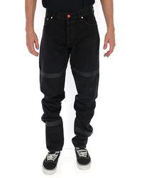 Heron Preston Straight Leg Stripe Detail Jeans - Black
