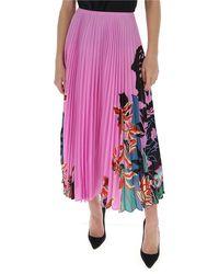 Valentino Printed Pleated Midi Skirt - Pink