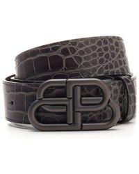 Balenciaga Embossed Bb Logo Belt - Grey