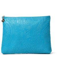 Etro Tonal Paisley Print Pouch - Blue