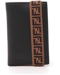 Fendi Vertical Elastic Strap Billfold Wallet - Black