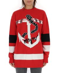 MSGM Oversized Anchor Sweater - Red