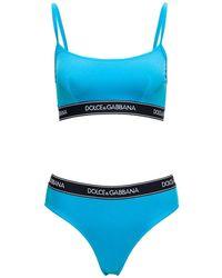 Dolce & Gabbana Light Blue Bikini With Logo