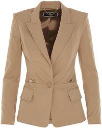 Elisabetta Franchi Tailored Low-cut Blazer - Natural