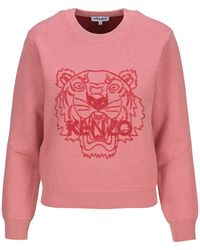 KENZO Tiger Motif Knitted Jumper - Pink