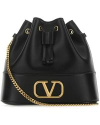 Valentino Vlogo Bucket Bag - Black