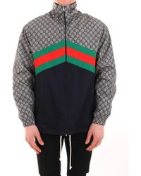 a79fafce4 Gucci Nylon Jacket With Snake Web Crest in Blue for Men - Lyst