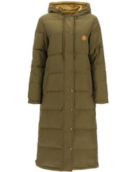 KENZO Tiger Logo Patch Reversible Quilted Coat - Green