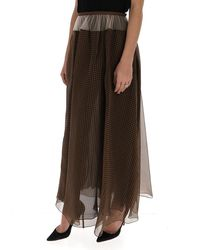 Fendi Checked Maxi Skirt - Brown