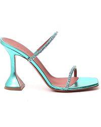 AMINA MUADDI Gilda Crystal-embellished Mules - Blue