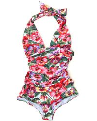 Dolce & Gabbana Floral Print One-piece Swimsuit - Multicolour