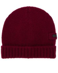 Prada Logo Patch Knitted Beanie - Red