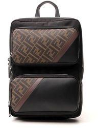Fendi Ff Panelled Backpack - Black