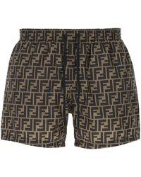 Fendi Ff Drawstring Swim Shorts - Multicolour