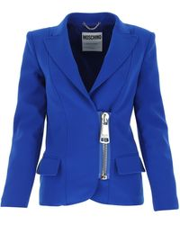 Moschino Electric Blue Polyester Blend Blazer Nd