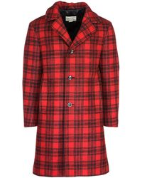 Gucci Checked Coat - Red