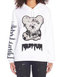 75f952b59ea Gucci Oversize Sweatshirt With Logo And Teddy Bear in Blue - Lyst