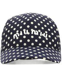 Miu Miu Printed Silk Baseball Cap - Blue