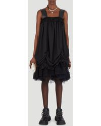 Simone Rocha Strapped Ruched Tiered Dress - Black
