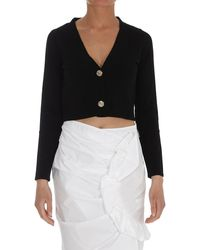 Pinko V-neck Cropped Cardigan - Black