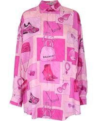 Balenciaga Oversized Printed Shirt - Pink