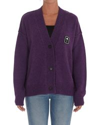 Palm Angels Logo Patch V-neck Knit Cardigan - Purple