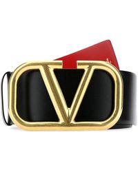 Valentino Vlogo Buckle Reversible Belt - Black