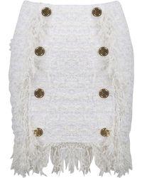 Balmain Button Embellished Textured Skirt - White