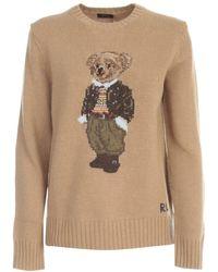 Polo Ralph Lauren Teddy Bear Intarsia Crewneck Sweater - Brown