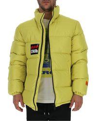 Heron Preston Logo Patch Down Coats - Yellow