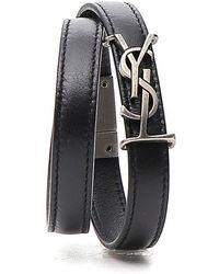 Saint Laurent Ysl Logo Buckle Bracelet - Black
