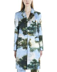Comme des Garçons Graphic Printed Single Breasted Coat - Green