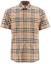 Burberry Vintage Check Short-sleeved Twill Shirt - Natural