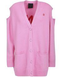 Givenchy Logo Oversized Cardigan - Pink