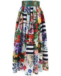 Dolce & Gabbana Patchwork Maxi Skirt - Blue