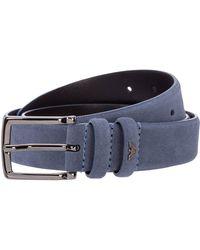 Emporio Armani Men's Genuine Leather Belt - Blue
