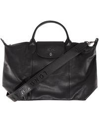 Longchamp Le Pliage Cuir - Top Handle Bag S - Black