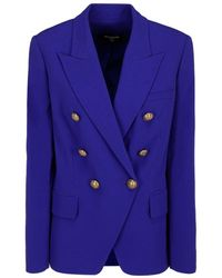 Balmain Double-breasted Blue Wool Blazer With Peak Lapels And Golden Embossed Buttons.
