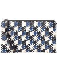 RED Valentino Flower Puzzle Clutch Bag - Blue
