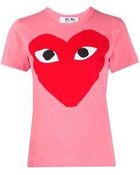 COMME DES GARÇONS PLAY Heart Print Round Neck T-shirt - Pink