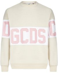 Gcds Logo Print Crewneck Sweatshirt - Natural