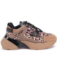 Pinko Leopard Print Chunky Sole Trainers - Natural