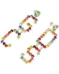 Gcds Strass Logo Crystal-emballished Pendant Earrings - Metallic