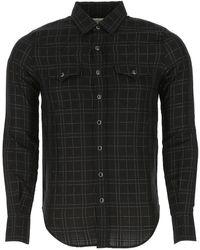 Saint Laurent Western Check Shirt - Black