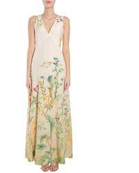 Alberta Ferretti Floral Print Maxi Dress - Yellow