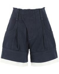 Chloé Contrast-trimmed High Rise Shorts - Blue