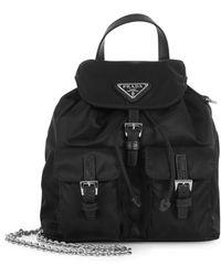 Prada Small Backpack In Vela Fabric - Black