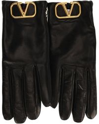 Valentino Vlogo Plaque Gloves - Black