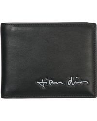 Dior Men's Genuine Leather Wallet Credit Card Bifold - Black