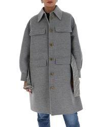 Fendi Straight-cut Trench Coat - Gray